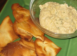 Cannellini Bean, Artichoke, and Fresh Rosemary Dip with Homemade Pita Chips