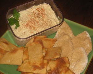Homemade Hummas and Fresh White Whole Wheat Pitas