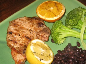 Grilled Jerk Pork Chops with Grilled Citrus Fruits