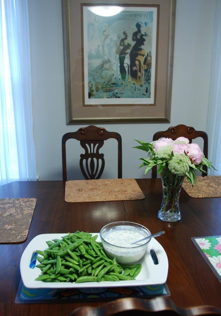 Sugar Snap Peas with Homemade Buttermilk Ranch Dipping Sauce